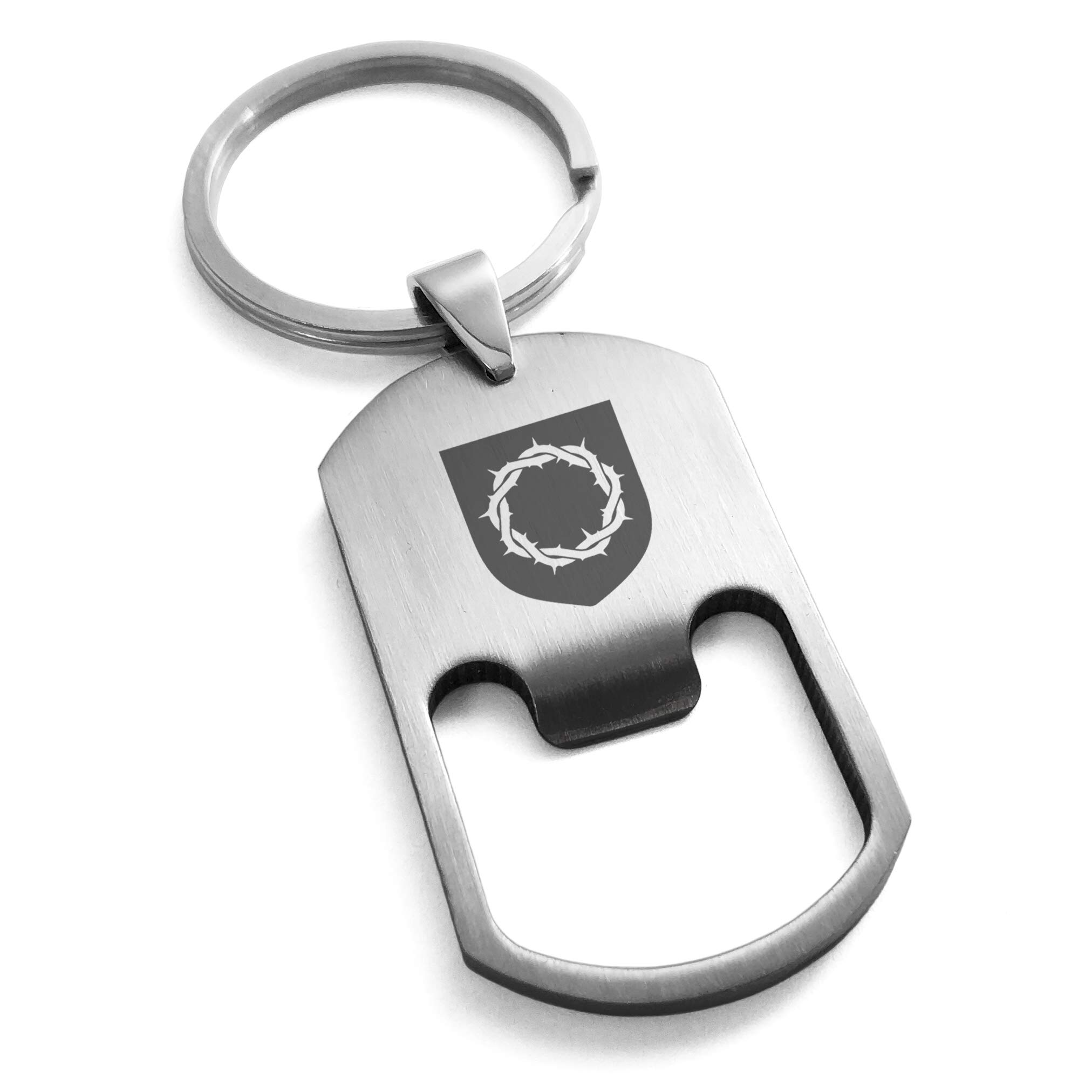 Tioneer Stainless Steel Crown Thorns Adversity Coat Arms Shield Engraved Bottle Opener Dog Tag Keychain Keyring