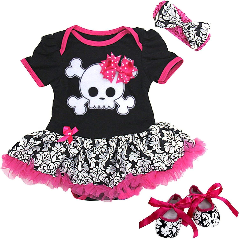 Halloween Light Pink Skull Baby Black Long Short Sleeve Jumpsuit Hat Set NB-12M