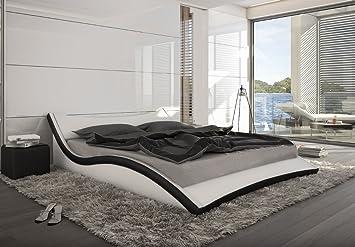 Designer Leder Bett Polsterbett Geschwungenes Lederbett Weiss Mit Schwarz  Wellenförmig Modern Gewelltes Bett Günstig (180x200