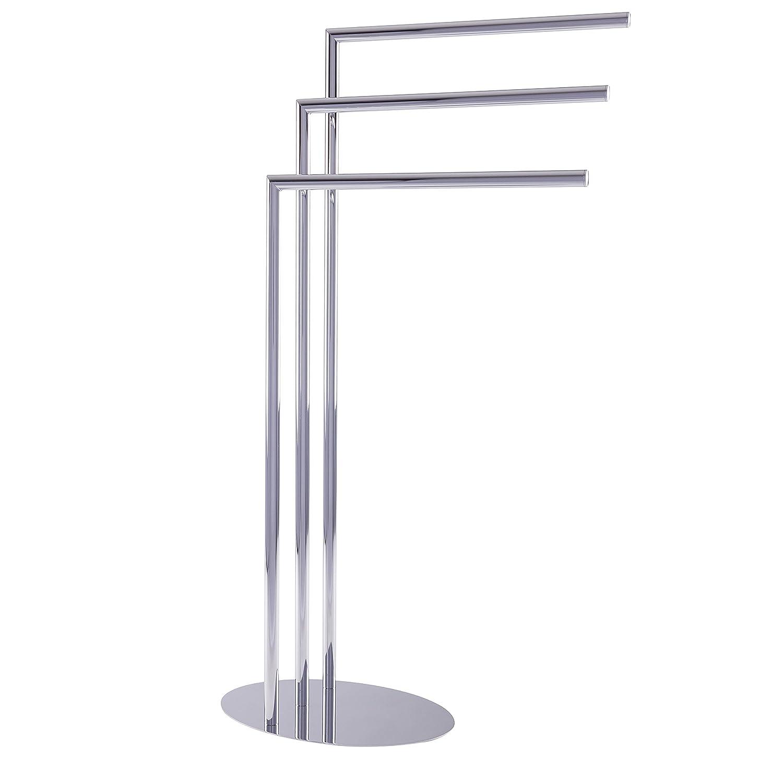 Esbada Design-Handtuchständer freistehend freistehender Handtuchhalter Badehandtuchständer, Oval, 3 Handtuchstangen - Chrom - 33x91x23 cm