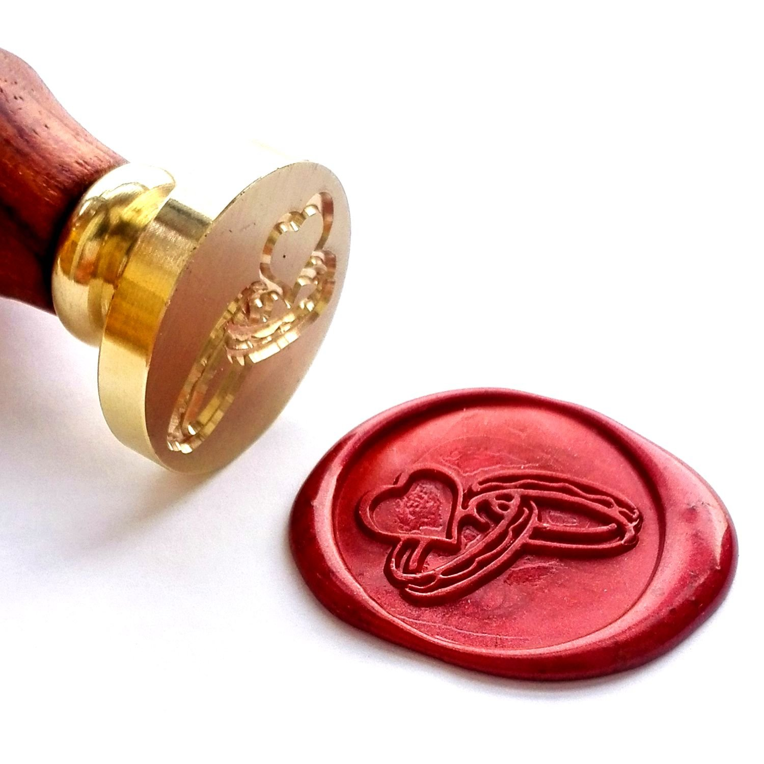 VOOSEYHOME the Hearts & Rings Wax Seal Stamp with Rosewood Handle - Ideal for Decorating Gift Packing, Envelopes, Parcels, Parties, Weddings, Invitations, Cards, Signature and Everything You Like! JJEDWARD 4336845724