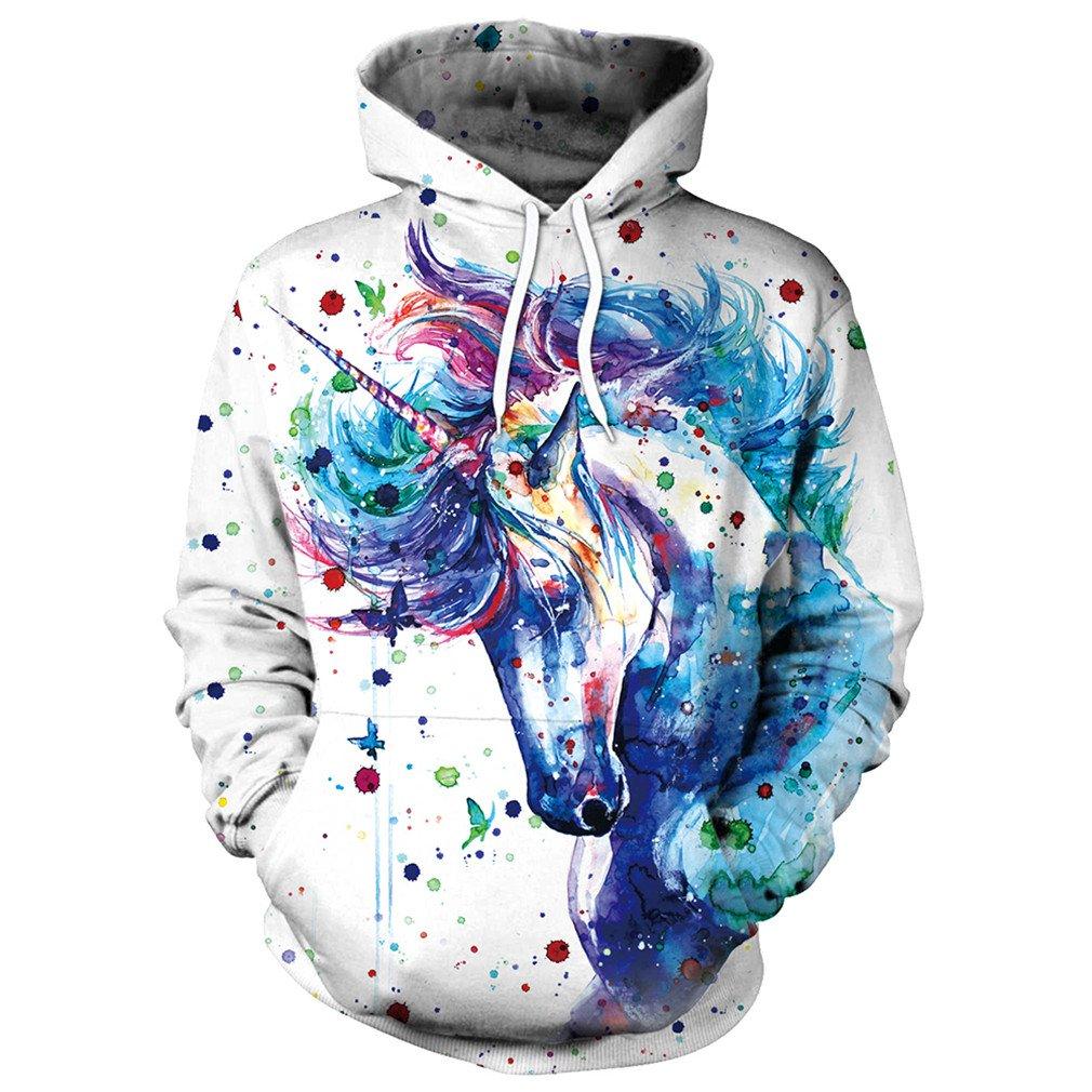Samefar Womens Men Realistic 3D Digital Print Pullover Hoodie Hooded Sweatshirt Large/X-Large Watercolor Unicorn