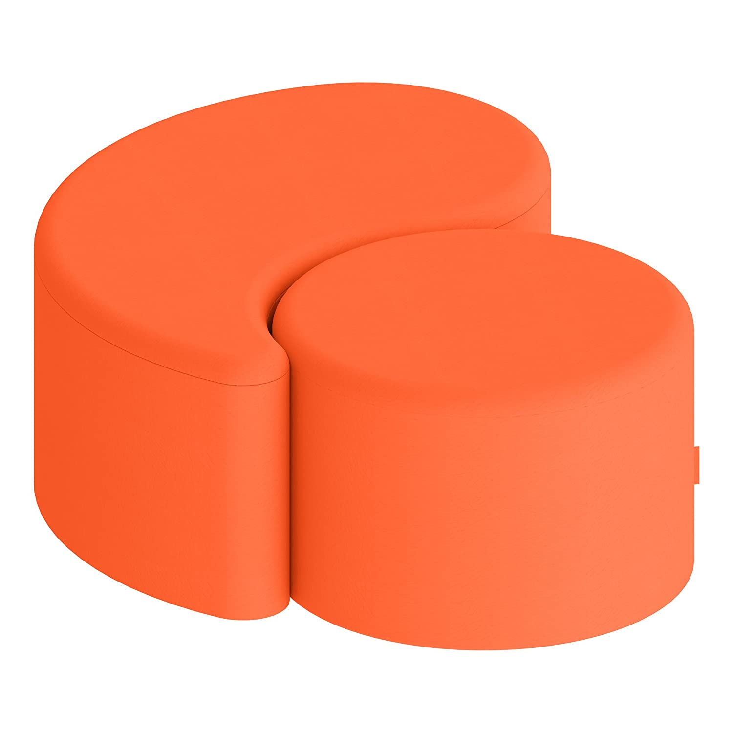 Red Round Cylinder Stool 12H Shapes Structured Vinyl Soft Seating with Durable Frame