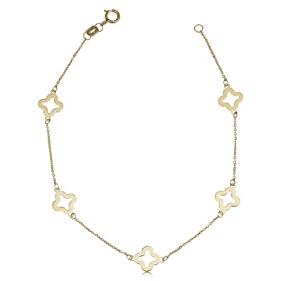 a10c23d7a2d7c Kooljewelry 14k Yellow Gold Clover Flower Bracelet (7.9 mm, 7.5 inch)