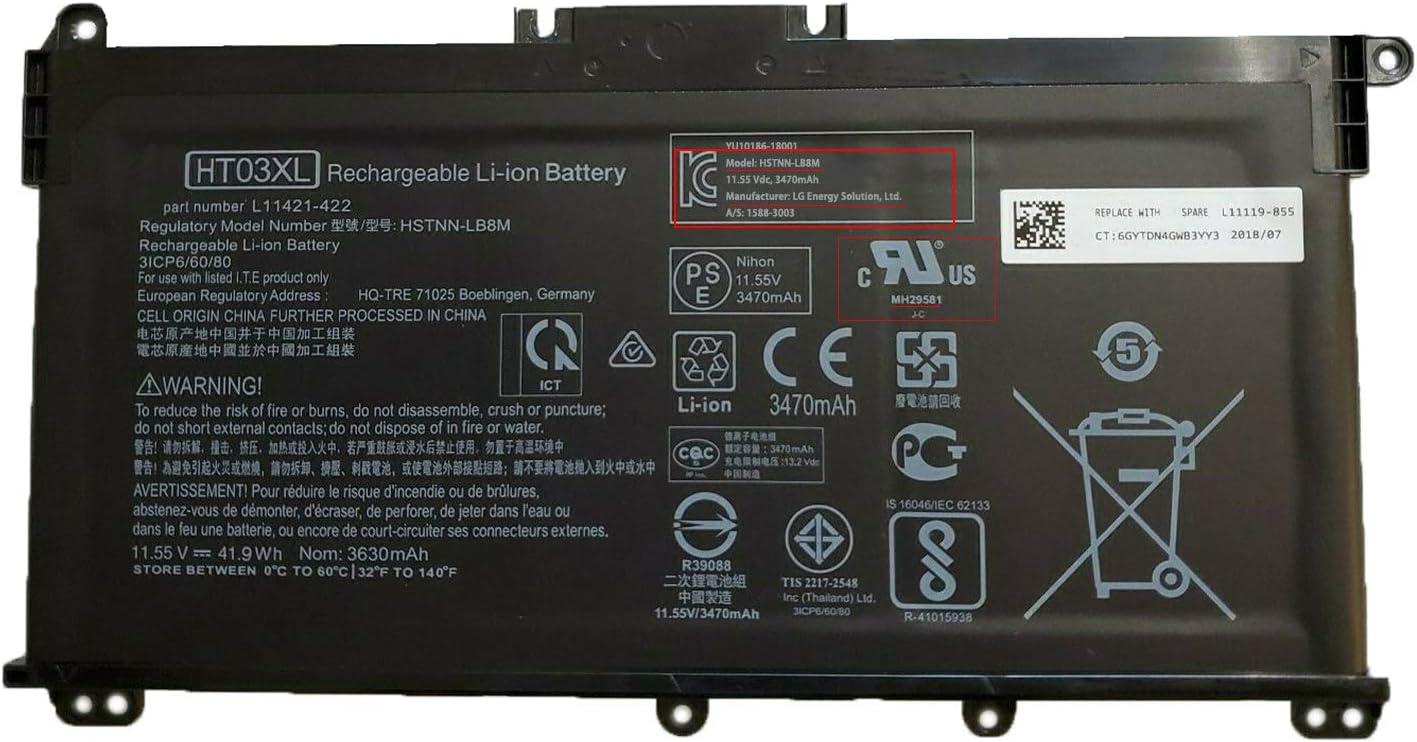 SUNNEAR HT03XL L11119-855 Laptop Battery Replacement for HP Pavilion 14-CE CF CK CM DF MA 15-CS CW DA DB 17-CA BY 240 245 250 255 340 470 G7 Series Notebook L11421-1C1 L11421-2D2 HSTNN-DB8R HSTNN-LB8M
