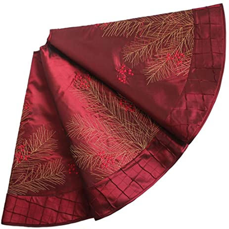 SORRENTO Deluxe Embroidered Pine Branches Cherry With Pintuck BorderExtra Large Christmas Tree Skirt