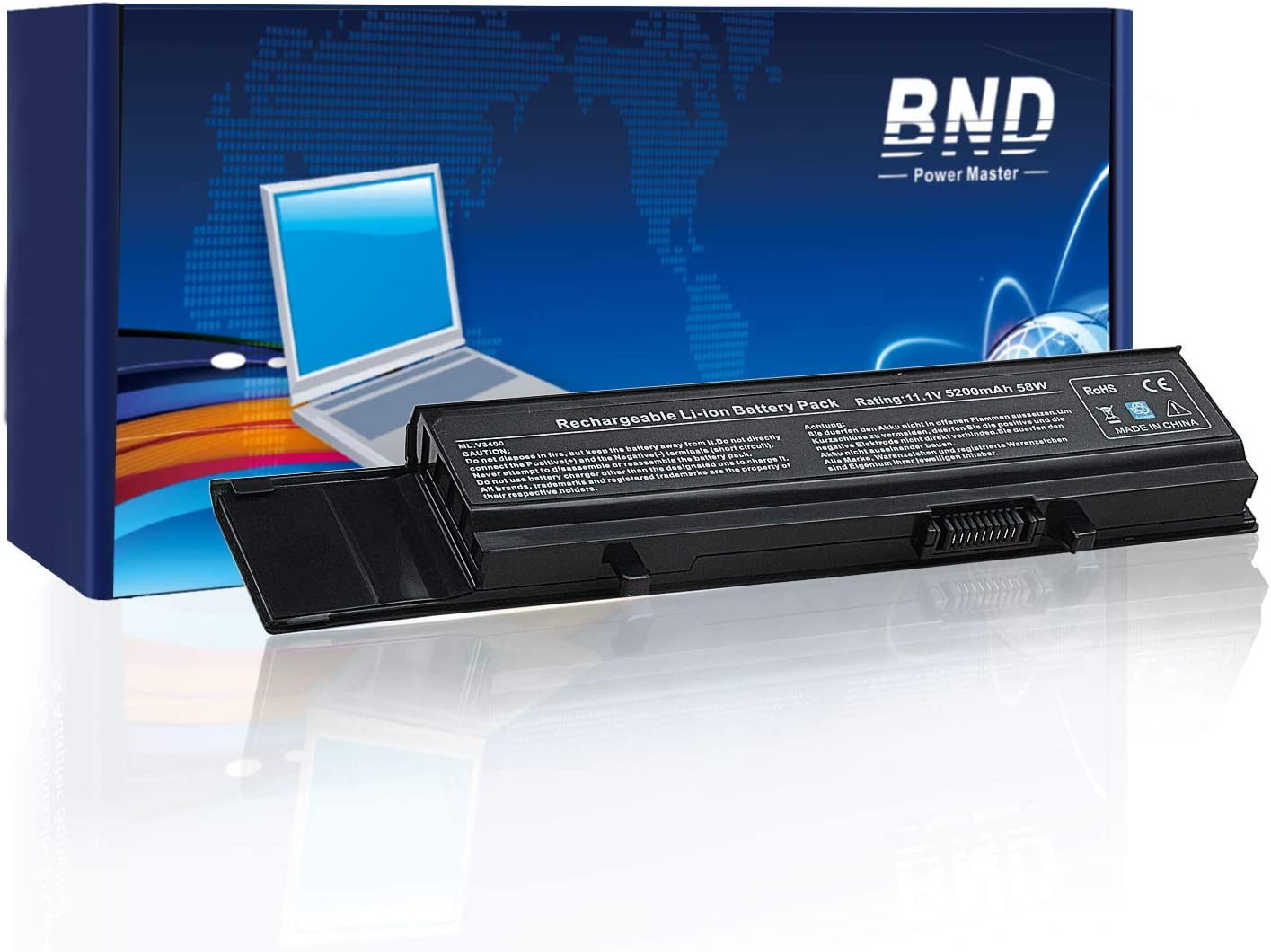 BND Laptop Battery for Dell Vostro 3500 3700 3400, fits P/N 7FJ92 Y5XF9 CYDWV - [6-Cell 5200mAh/58Wh]