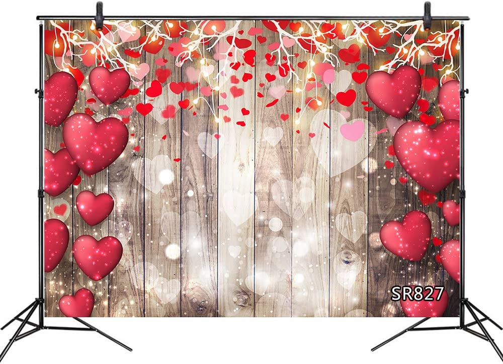 LB Fancy Valentines Day Backdrops 7x5ft Fabric Romantic Red Snowflake Photo Backdrops Customized 80s 90s Photo Background Studio Props,Washable