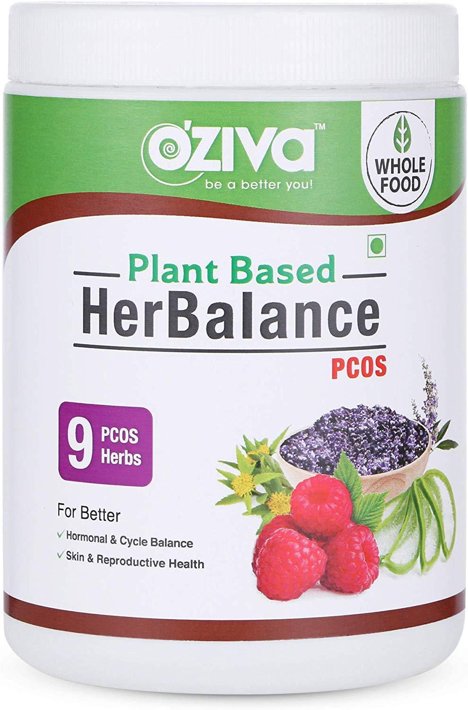 OZiva Plant Based HerBalance for PCOS (with ChasteBerry, Rhodiola Rosea, Red Raspberry, Shilajit, Ashoka & More), 250 g