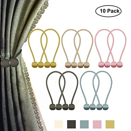 Biange Curtain Tiebacks, Strong Window Curtain Magnetic Clips Rope Straps, Pack of 2 4 10, Window Curtain Holdbacks Decoration Use for Indoor Home, Office, 16 Inch Long 10 Pcs
