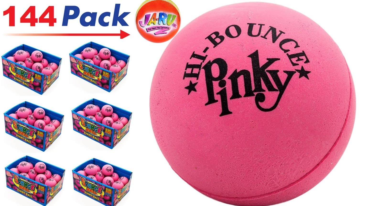 Pinky Ball (Pack of 144) 2.5'' Hi Bounce Large Pink Rubber Balls for Play or Massage Therapy. Plus 1 Small JA-RU Ball. #976-144p by JaRu