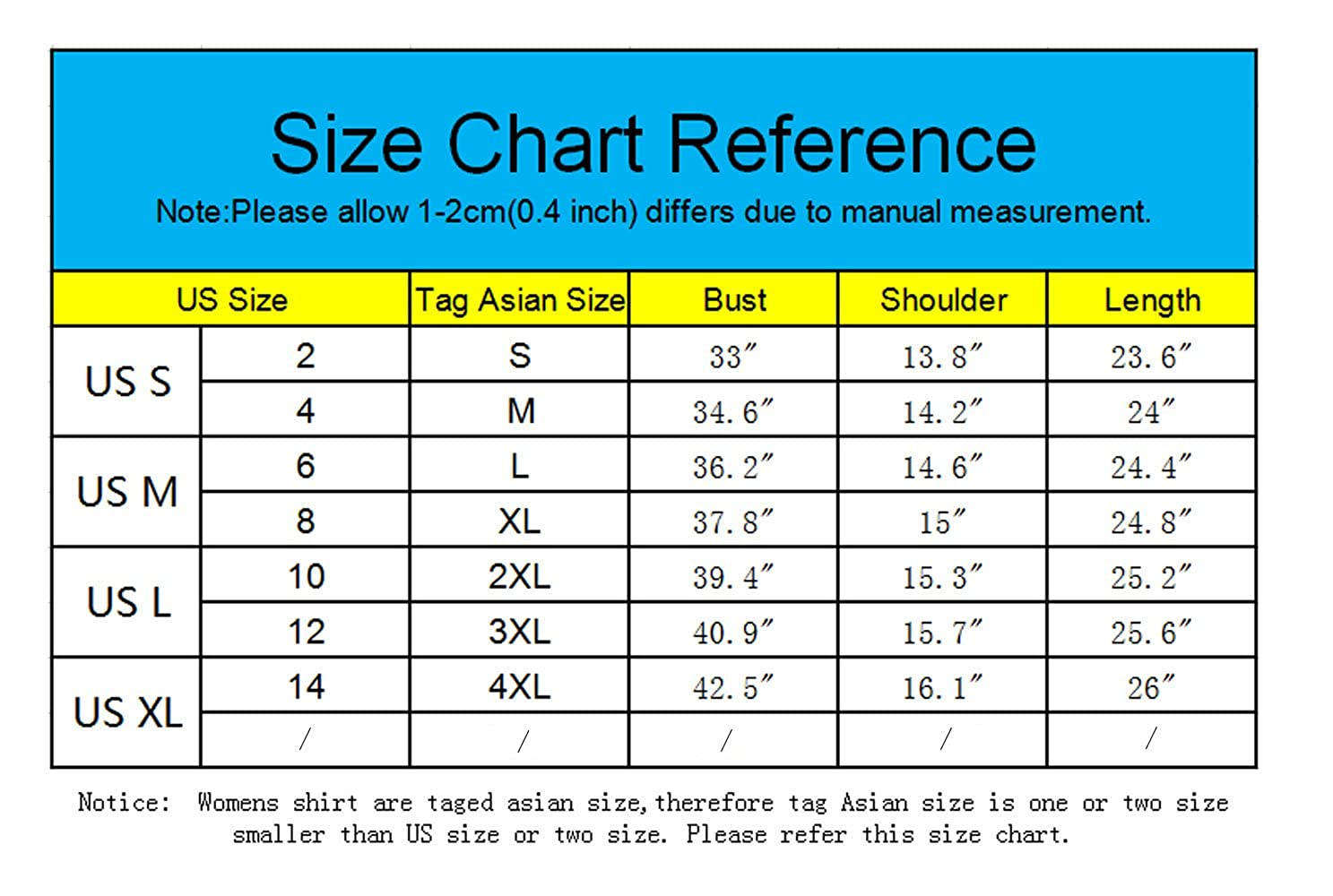 Asian Size Chart To Us - Gallery Of Chart 2019