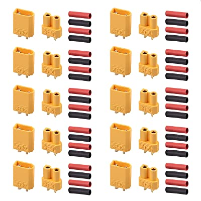 AUTOUTLET 20PCS 10Pairs XT30 Bullet Connectors Plugs Male & Female with Heat Shrink For RC Car/Boat/LiPo Battery: Toys & Games