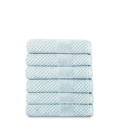 Chortex – Toallas (lino Honeycomb toalla de mano (6 unidades), color azul