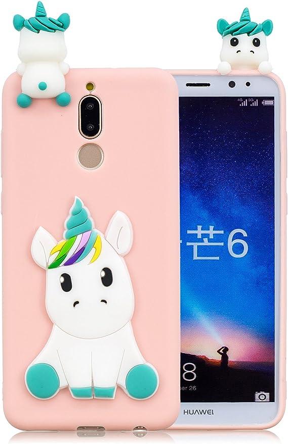 Leton Cover Huawei Mate 10 Lite Silicone Unicorno 3D Morbido TPU Gel Custodia Mate 10 Lite Antiurto Ultra Sottile Flessibile Gomma Case Protettiva ...