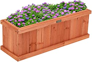 Giantex Raised Garden Bed Flower or Vegetable Planter Window Mounted Plant Box for Garden, Yard Wood Box for Planting (28