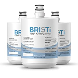 BRISTI Certified Refrigerator Water Filter, Compatible with LG LT500P, 5231JA2002A, ADQ72910901, Kenmore GEN11042FR-08, 9890, 46-9890, Pack of 3