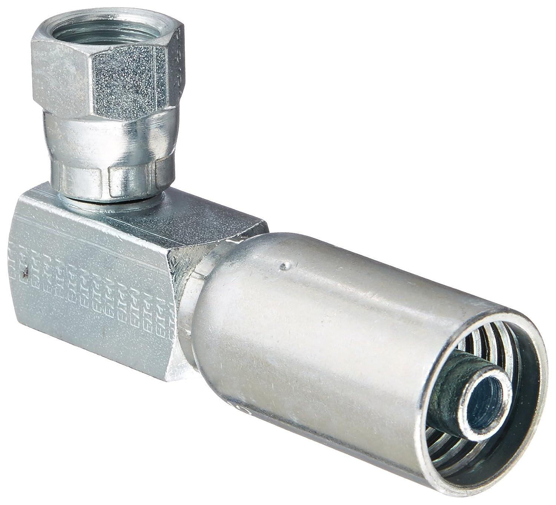 Low Carbon Steel 3//8 Hose ID SAE 37 Degree 1//2 Tube Size 3//8 Hose ID 1//2 Tube Size EATON Weatherhead Coll-O-Crimp 06U-668 90 Degree Female Swivel Tube Elbow Fitting