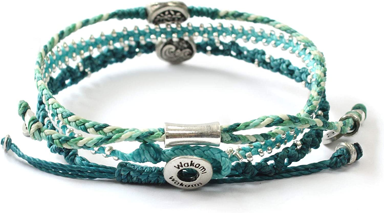 7.5in Button Closure Glass Beaded Handmade Boho Jewelry |Friendship and Love Bracelets for Women Wakami New World Charm Bracelet Set of 3 Waterproof Fair Trade