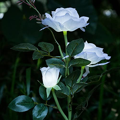 ISHOWStore Rose Lights, Solar Powered 3 LED Artificial Flowers Garden Outdoor Lawn Path Way Party Decorative Landscape Courtyard Balcony Lamps Lighting White
