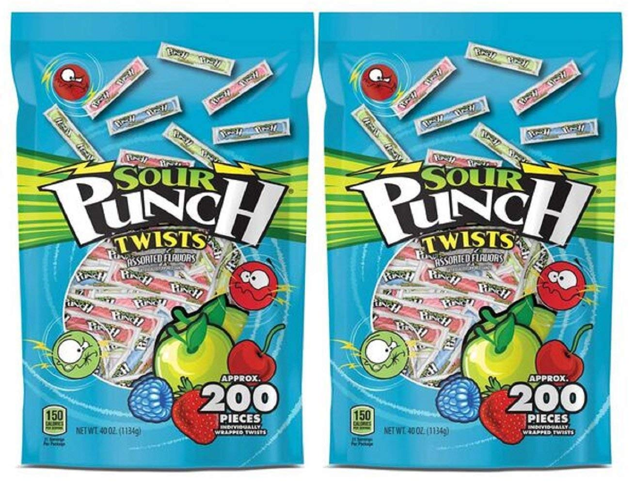 Sour Punch Twists, Assorted Flavors, 3'' Individually Wrapped Candy Pieces, Strawberry, Cherry, Blue Raspberry & Apple, 40 Ounce bag, 200 Count, Pack of 2 by Sour Punch