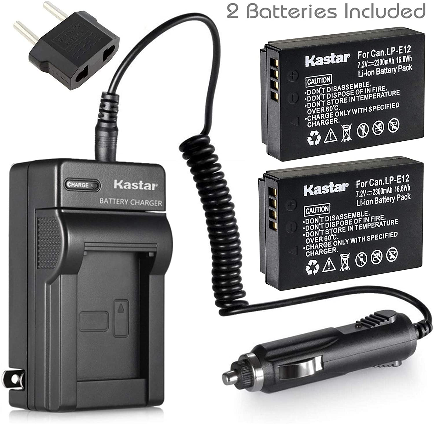 Kastar Battery (2-Pack) and Charger for Canon LP-E12 LPE12 Battery, LC-E12 LC-E12E Charger, Canon EOS 100D, EOS M, EOS M2, EOS M10, EOS M50, EOS M100, EOS M200, EOS Rebel SL1, PowerShot SX70 HS Camera