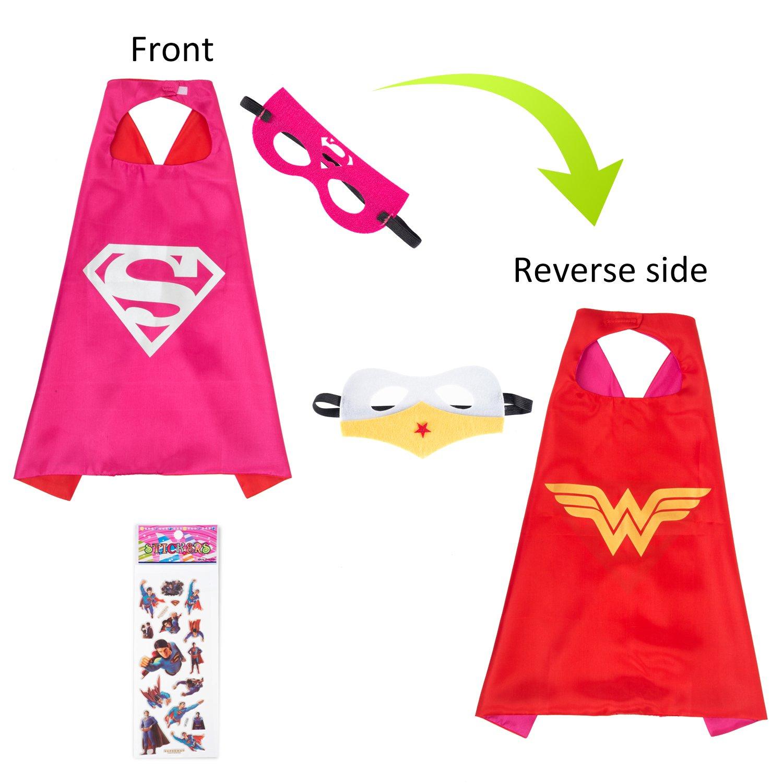 MIJOYEE Superhero Capes Mask Costumes Kids,Cartoon Dress up (Wonder Woman Superman - Girls)