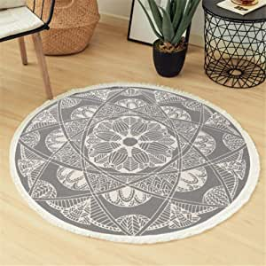Seavish Round Area Rug, 4ft Grey and Cream Mandala Geometric Chic Bohemian Mandala Print with Hand Woven Tassels Living Room Circle Carpet, Indoor Floor Area Mat Compatible Bedroom, Children Playroom
