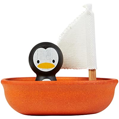 PlanToys Sailing Boat with Penguin Bath and Water Play Toy (5711) | Sustainably Made from Rubberwood and Non-Toxic Paints and Dyes | Eco-Friendly PlanWood: Toys & Games