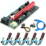 Ubit 6 Pack PCI-E Riser Express Cable 16X to 1X (Dual-6pin / MOLEX) with Led Graphics Extension Ethereum ETH Mining Powered R