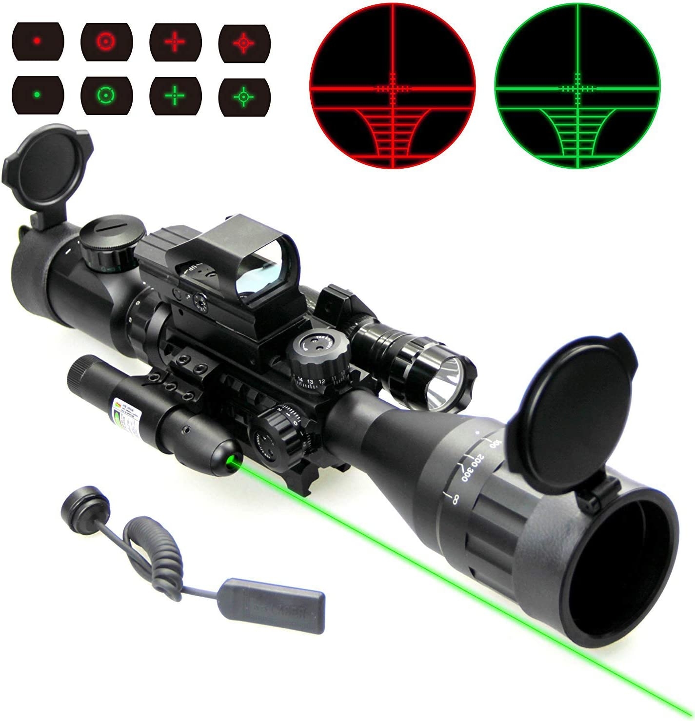 UUQ 4-16×50 Tactical Rifle Scope Red Green Illuminated Range Finder Reticle W RED Green Laser Sight and Holographic Reflex Dot Sight 4-16X50AO Green Laser 104 Dot Sight FL