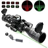 UUQ 4-16x50 AO Rifle Scope Red/Green Illuminated Range Finder Reticle W/Green Laser - Holographic Reflex Red Dot Sight - 5 Brightness Modes Flashlight