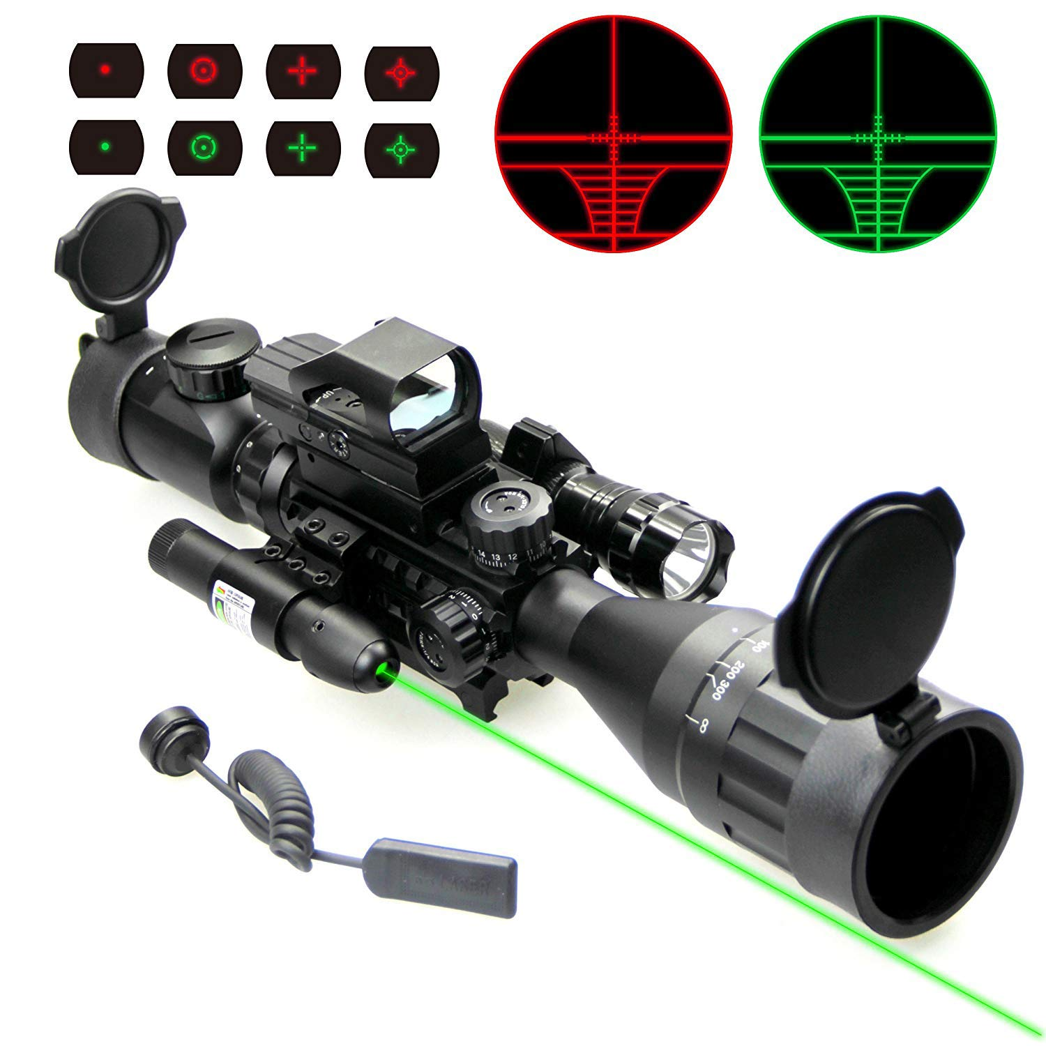 UUQ 4-16x50 Tactical Rifle Scope Red/Green Illuminated Range Finder Reticle W/RED(Green) Laser and Holographic Reflex Dot Sight (12 Month Warranty) 4-16X50 W/Green Laser & Flash Light by UUQ