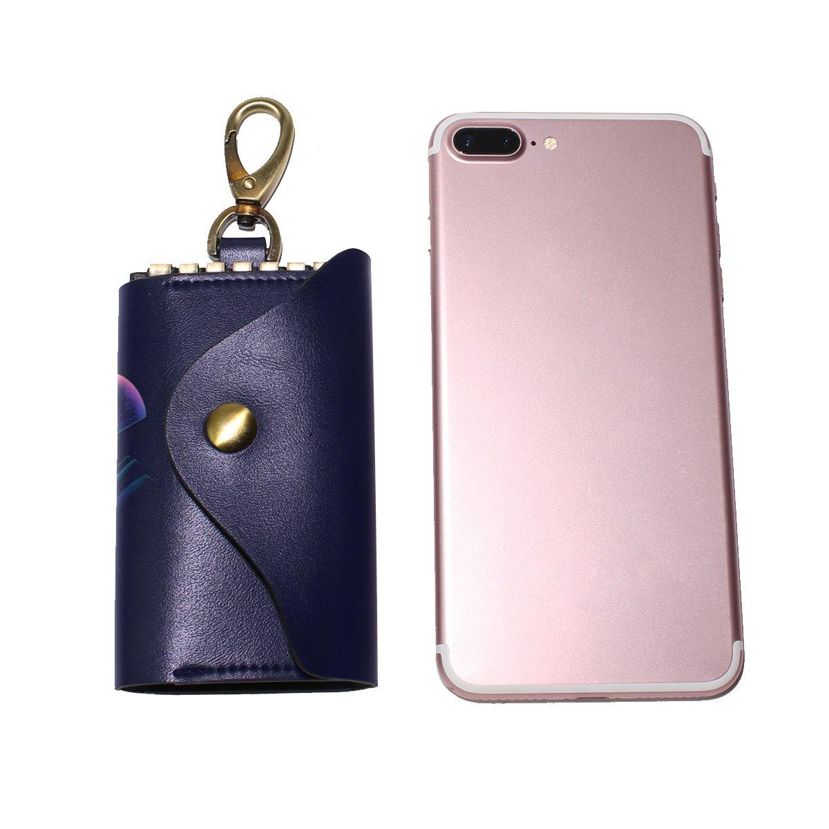 DEYYA Daft Punk Dj Art Leather Key Case Wallets Unisex Keychain Key Holder with 6 Hooks Snap Closure