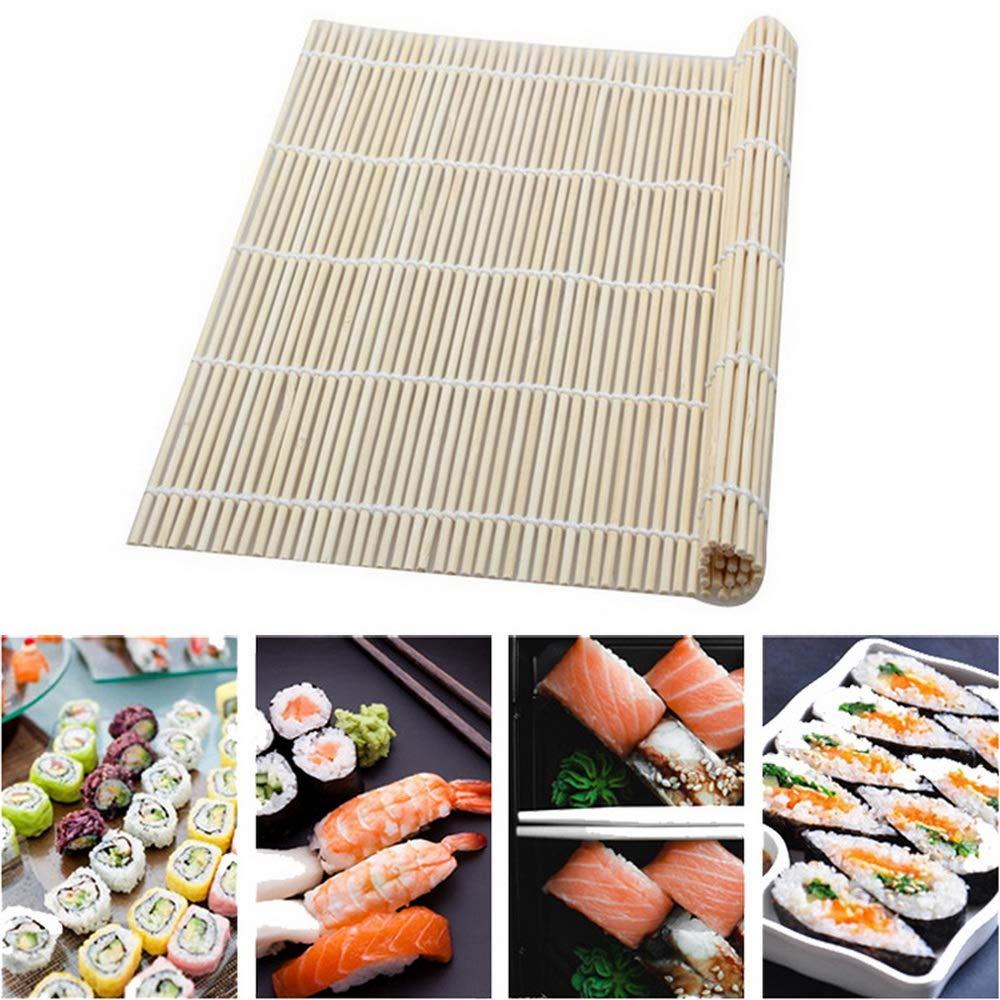 RainBabee Kit Riz Rouleau de Sushi Moule de Cuisine DIY Moule /à Rouleau Tapis de Riz en Forme de Rame de Bambou avec Cuill/ère /à Riz