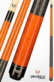 product image for Valhalla VA119 by Viking 2 Piece Pool Cue Stick Autumn Orange Stain Irish Linen Wrap 16-21 oz. Plus Blue Master Chalk