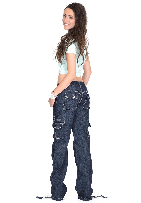 Indigo Glamour Outfitters Dark Wash Wide Leg Denim Cargo Pants Combat Jeans