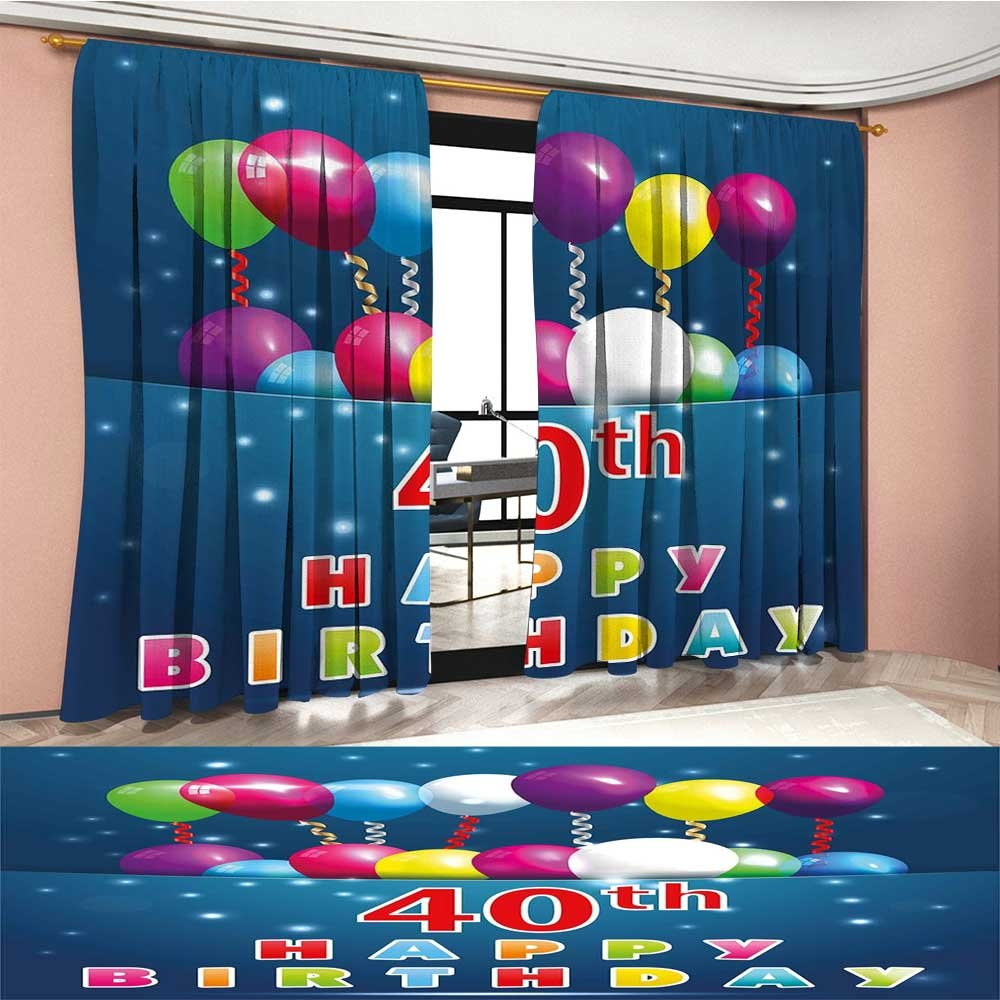Mannwarehouse 40th Birthday Waterproof Window Curtain Special Day Surprise Occasion Party Event with Colorful Balloons and Ribbons Blackout Draperies For Bedroom Multicolor
