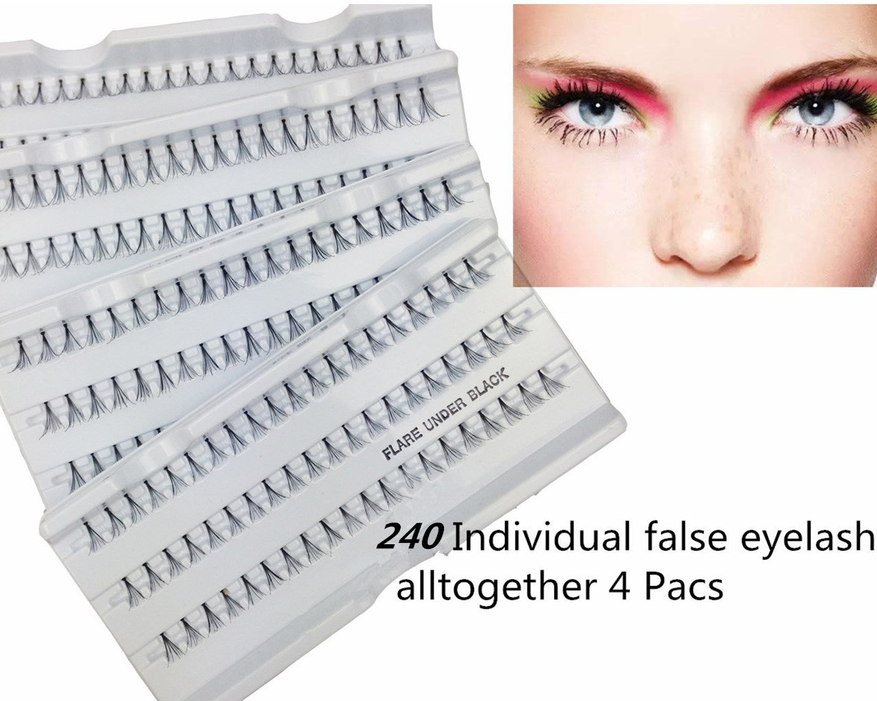 Miss La Mode 240 Pcs Lashes 12mm Eyelashes Clusters Fake Lashes Extensions Z03