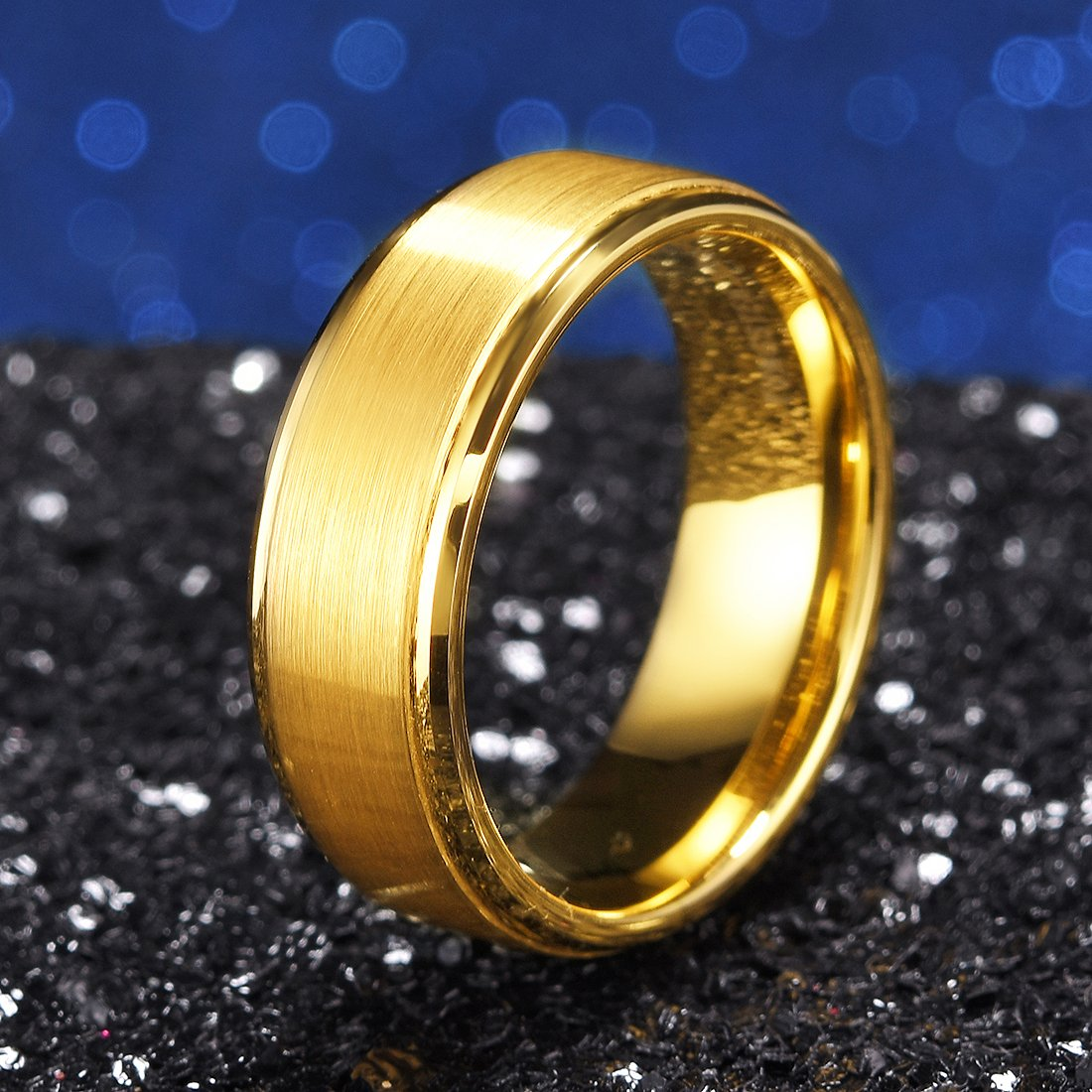 163dad65712 King Will Glory Womens Mens 8mm Matte Brushed Tungsten Carbide Ring 14K  Yellow Gold Wedding Band Comfort Fit - OY-R100   Wedding Rings   Clothing