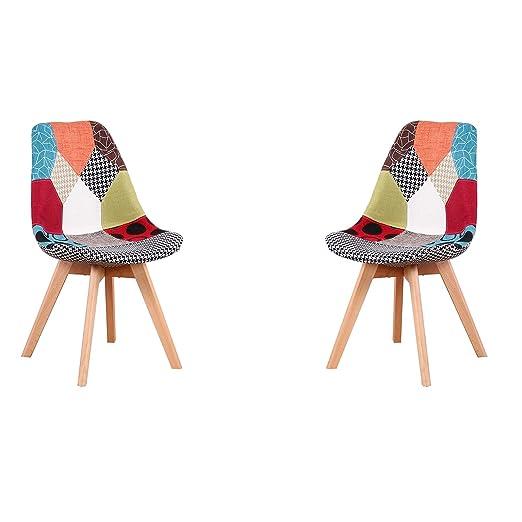 ArtDesign FR - Juego de 2 sillas Tulip Patchwork de Tela de ...
