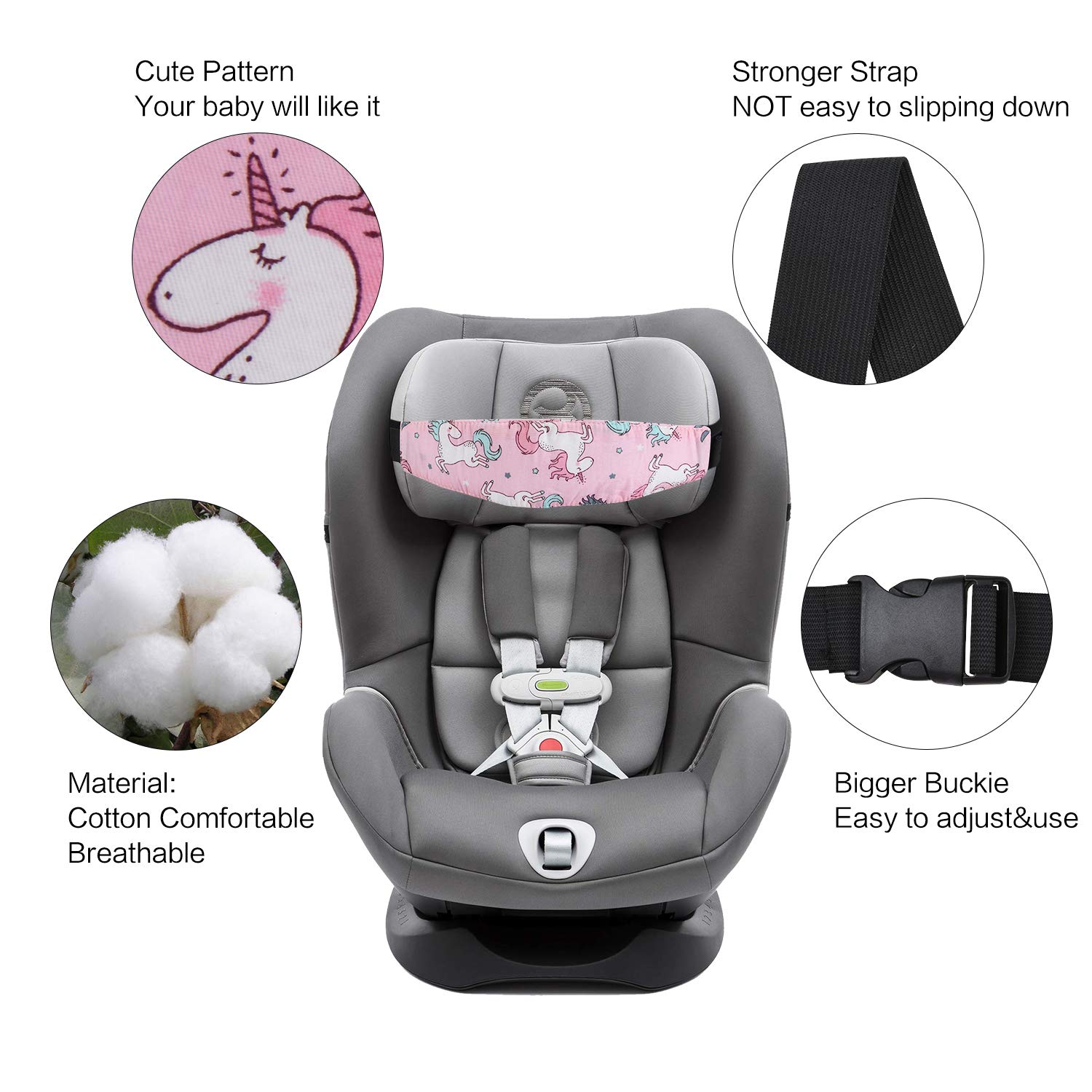 CarsBeige Carseat Baby Head Support Strap Covers Relief Car Seat Safety Adjustable Sleep Positioner Car Seat for Toddlers