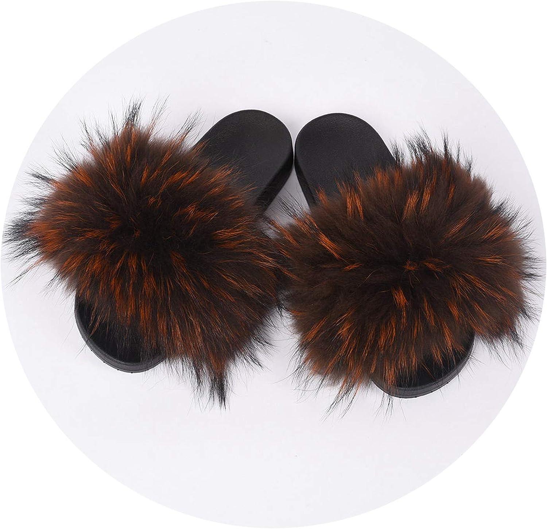 Womens Fur Slipper Real Raccoon Fur Fashion Style Furry Slides Soft Warm Big Fluffy Fur Shoes S6020E,Coffee Orange