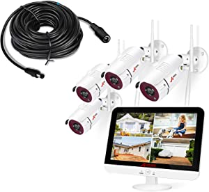ANRAN Wireless Security Camera System with Monitor and Power Extension Cable for Cameras