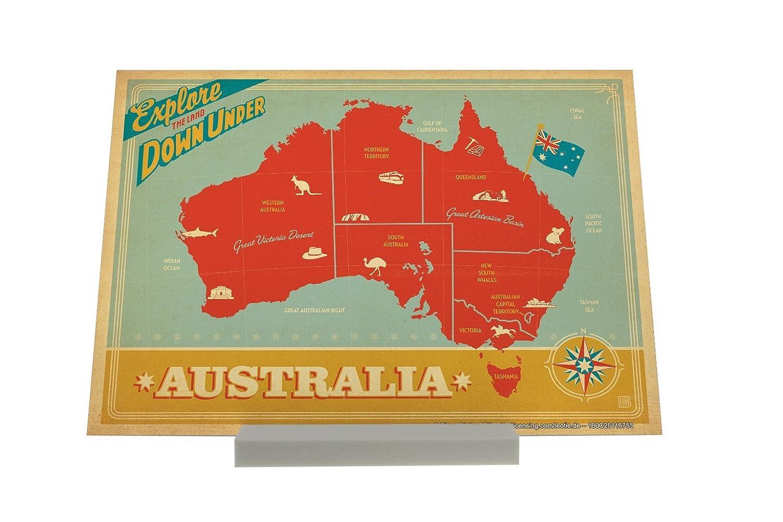 Soporte Fotografias Agencia De Viajes Vacaciones Australia mapa nostálgico: Amazon.es: Hogar