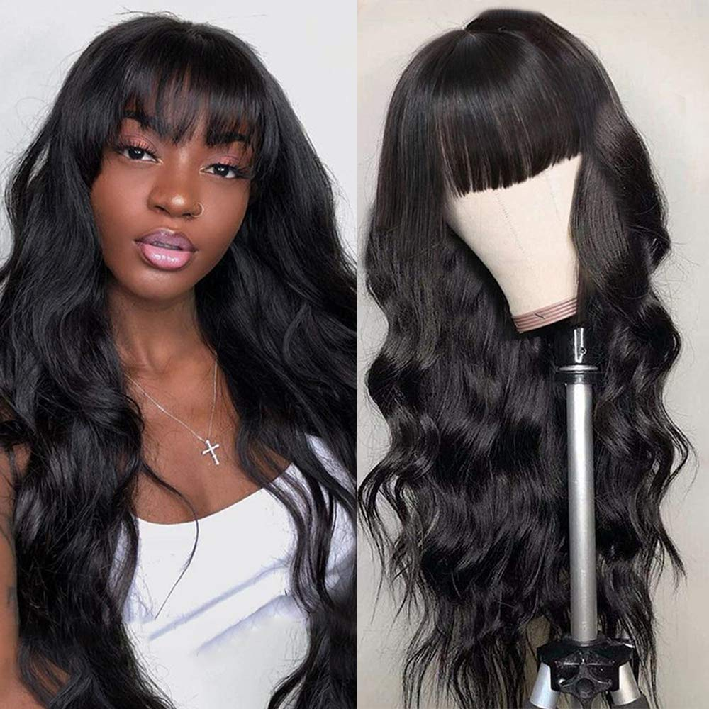 Amazon Com Body Wave Wigs With Bangs Virgin Brazilian None Lacefront Wigs Human Hair Wigs 130 Density Glueless Machine Made Wigs For Black Women Natural Black 20 Inch Body Wave Beauty