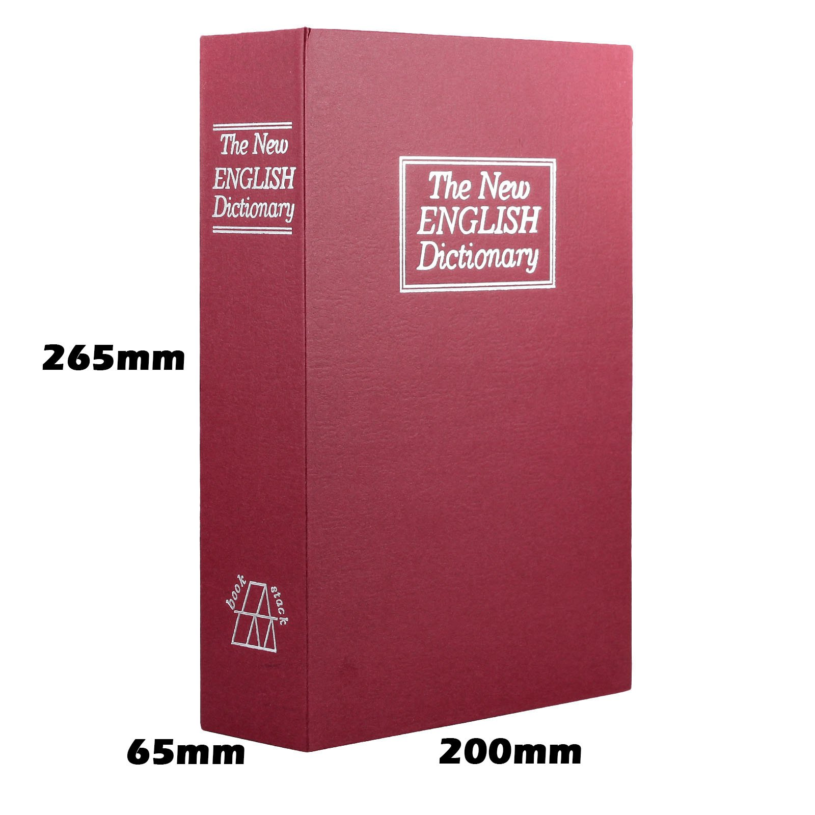 Champs Dictionary Diversion Book Safe with Key Lock for Home, Business [Red, Metal, Large Size, 10.4in x 2.55in x 7.87in]