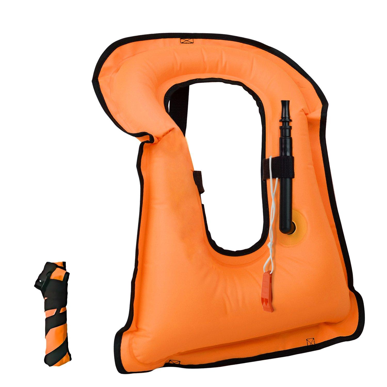 barsone Snorkel Vest Portable Inflatable Life Vest Safety Jackets for Adults (Orange)