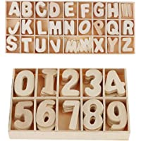 HOMYL 60 Pieces Smooth Natural Wooden Numbers & 156 Pieces Wooden Uppercase Letters Great for Crafts Pendants DIY Decoration Displays