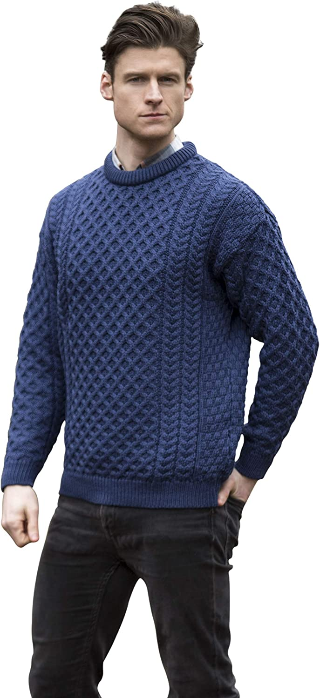 West End Knitwear Traditional 100/% Irish Merino Wool Crew Neck Sweater